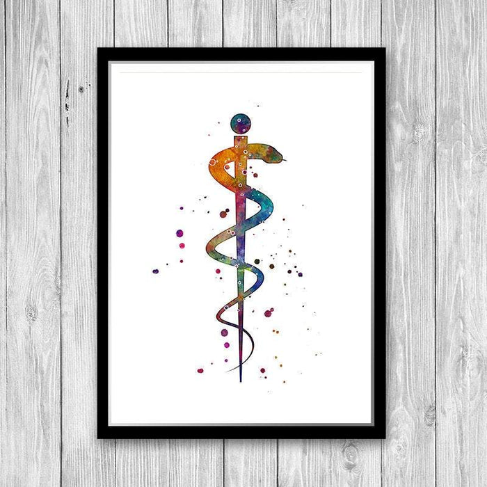 Rod of Asclepius Watercolor Print Healing and Medicine Symbol