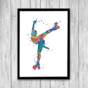 Roller Skating art Watercolor Print Girl Roller Skater Poster - PrintsFinds