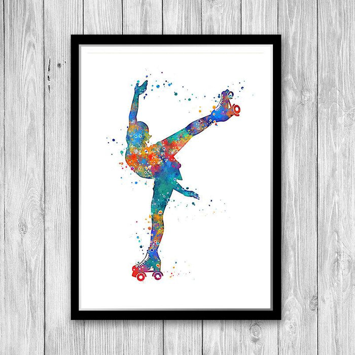 Roller Skating art Watercolor Print Girl Roller Skater Poster