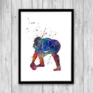 Rugby American football player Watercolor print - PrintsFinds