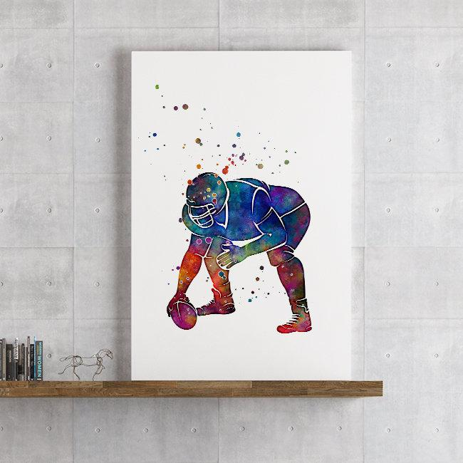 Rugby American football player Watercolor print