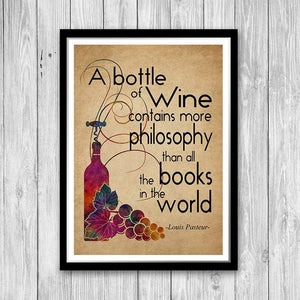 Rustic Kitchen Decor Wine Quote Wall Art Print Wine Lover Gift - PrintsFinds