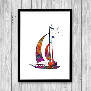Sail Boat Yacht Watercolor Print - PrintsFinds