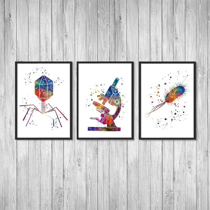 Science Art Microbiology Watercolor Prints Set of 3