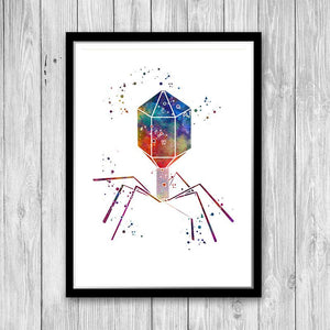 Science decor bacteriophage virus biology art print - PrintsFinds