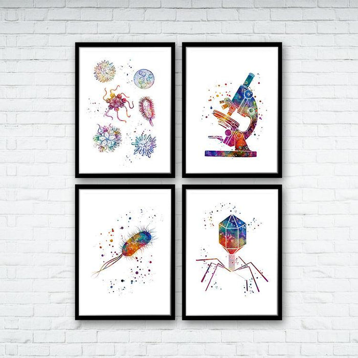 Science Decor Microbiology Art Set of 4 Watercolor Prints
