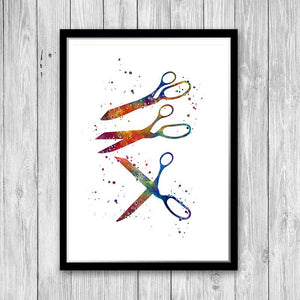 Scissors Crafting Sewing Watercolor Print - PrintsFinds