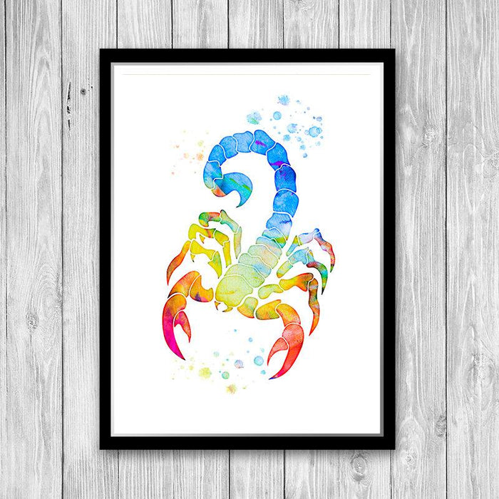 Scorpion art print Insect multicolored watercolor poster for home decor Zodiac