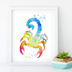 Scorpion art print Insect multicolored watercolor poster for home decor Zodiac - PrintsFinds