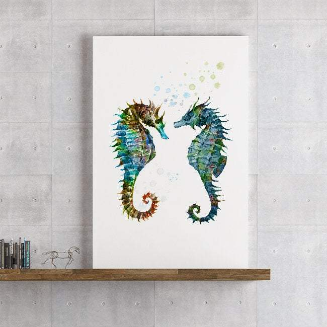 Sea Horses Decor Watercolor Print Nautical Nursery Wall Art