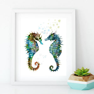 Sea Horses Decor Watercolor Print Nautical Nursery Wall Art - PrintsFinds