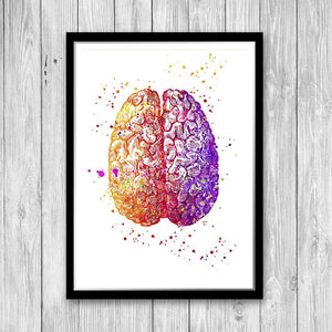 Set of 3 Prints Brain and Heart Doctors Office Wall Decor - PrintsFinds
