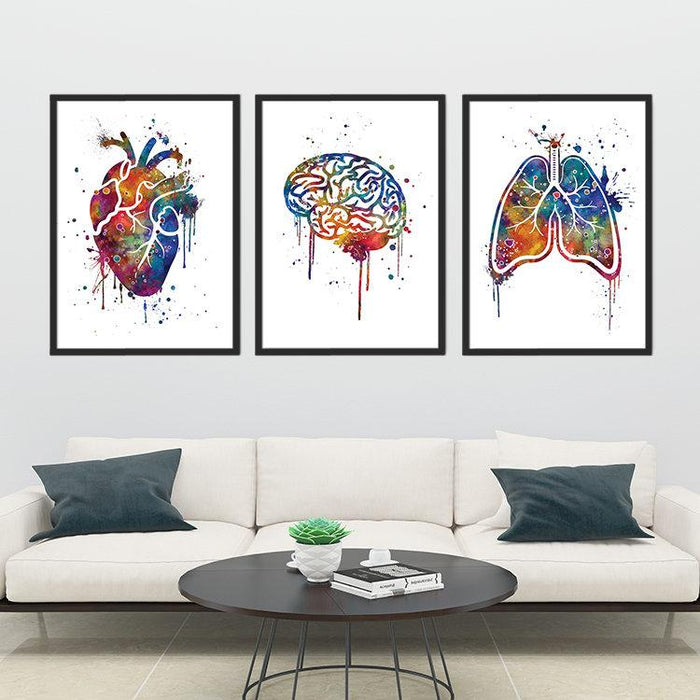 Set of 3 prints Human Brain, Heart and Lung