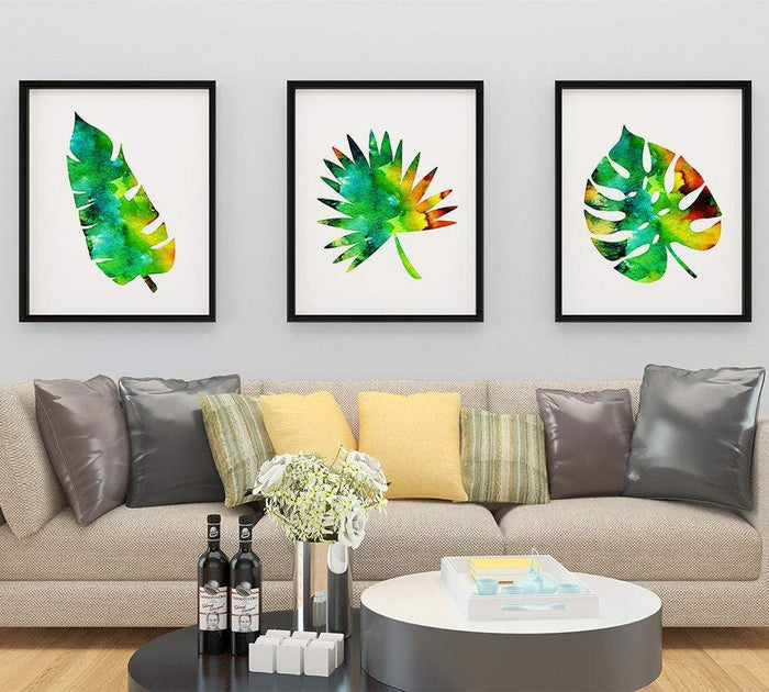 Set of 3 Prints Watercolor Tropical Leaves Green Wall Art for Office Decor, Home Decor