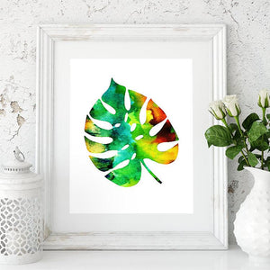 Set of 3 Prints Watercolor Tropical Leaves Green Wall Art for Office Decor, Home Decor - PrintsFinds