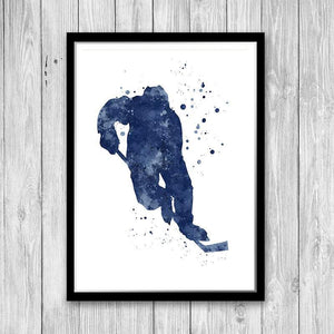Set of 4 prints blue watercolor art hockey player, soccer boy, lacrosse, and golf player - PrintsFinds
