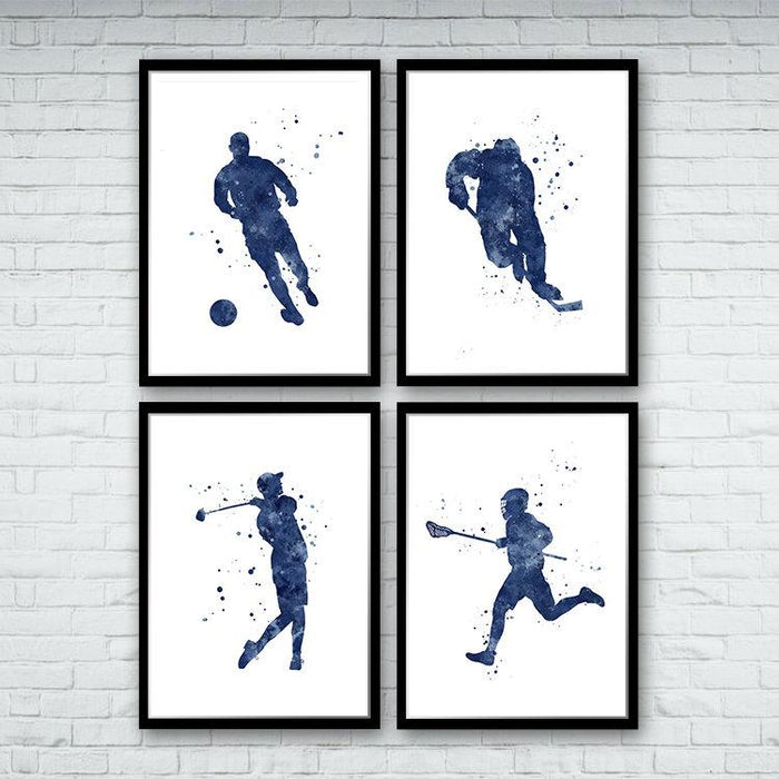 Set of 4 prints blue watercolor art hockey player, soccer boy, lacrosse, and golf player