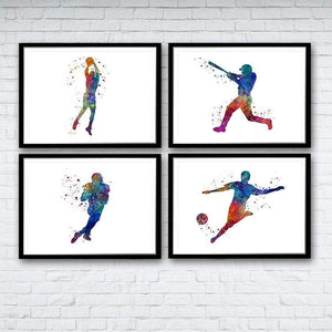 Set of 4 prints Football Baseball Basketball and Soccer Player - PrintsFinds