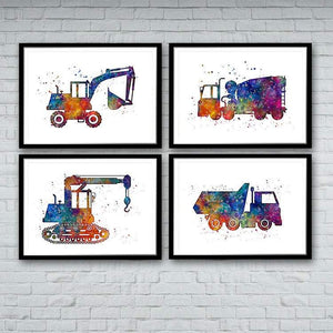 Set of 4 Watercolor Prints Construction Trucks - PrintsFinds