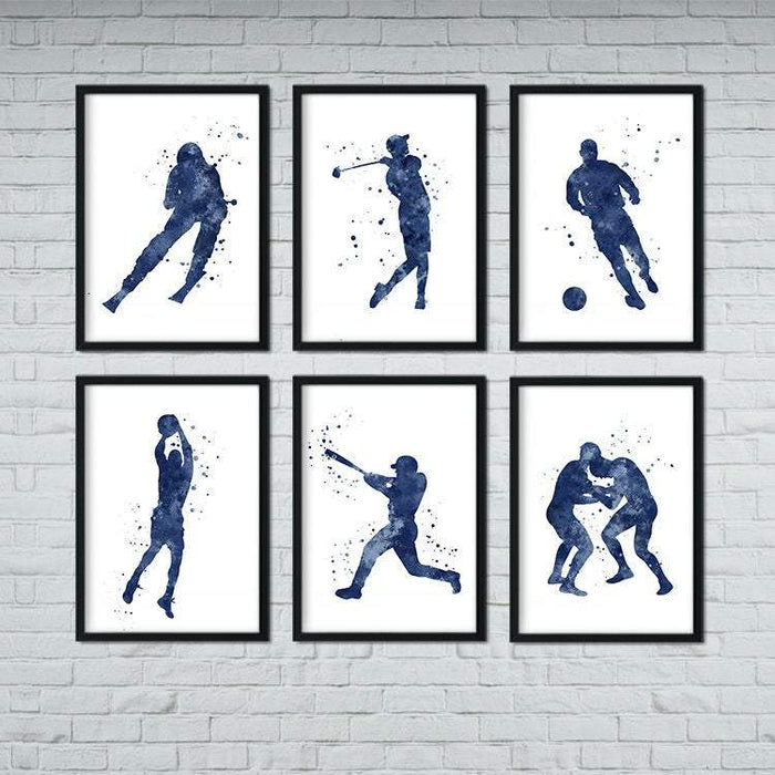 Set of 6 Blue Sports Art Prints for Boys Room Decor