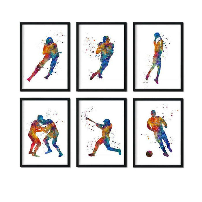 Set of 6 Sports Decor for boys room Watercolor art prints