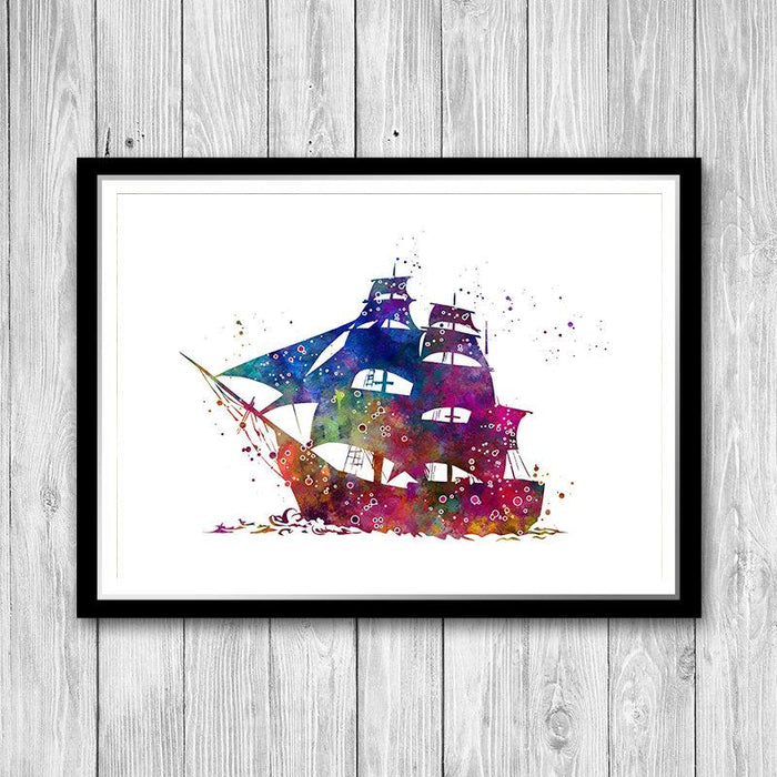 Ship Watercolor Print