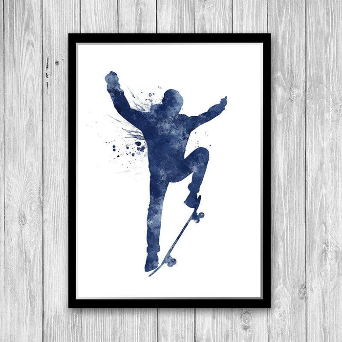 Skateboarding Decor for Teen Boys Room Blue Watercolor Art Print boys skater Gift