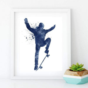 Skateboarding Decor for Teen Boys Room Blue Watercolor Art Print boys skater Gift - PrintsFinds