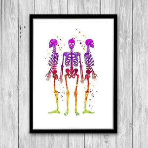 Skeletons Art Watercolor Print Human Anatomy Wall Art - PrintsFinds
