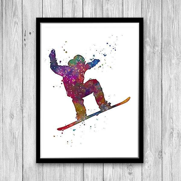 Snowboarding Art Kids Room Decor Snowboarder Watercolor Print