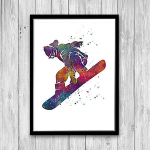 Snowboarding Watercolor Print - PrintsFinds