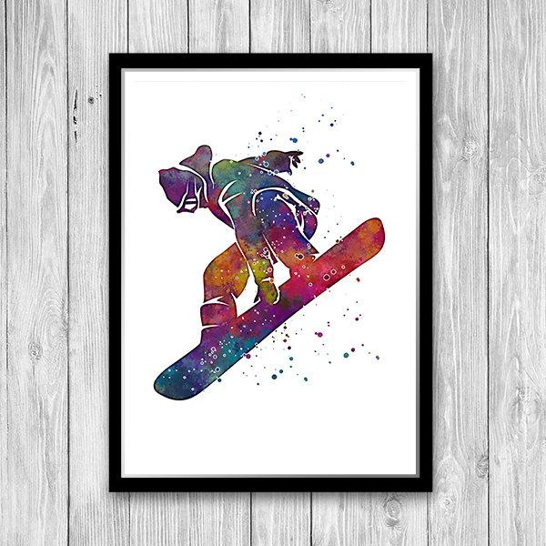 Snowboarding Watercolor Print