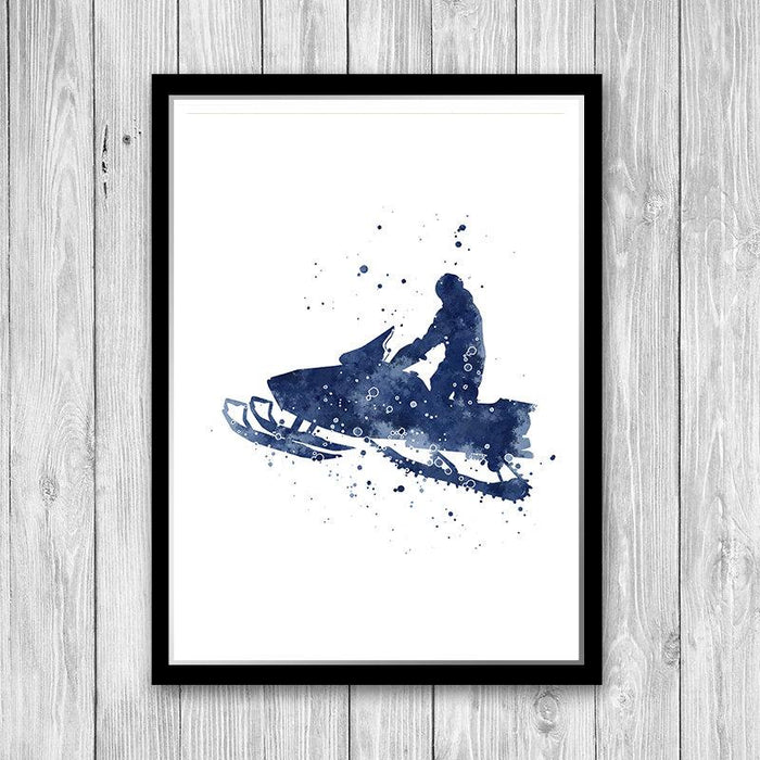 Snowmobile Watercolor Print Snowmobiler Poster Snowmobilist Gift Boys room decor