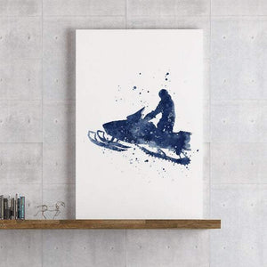Snowmobile Watercolor Print Snowmobiler Poster Snowmobilist Gift Boys room decor - PrintsFinds