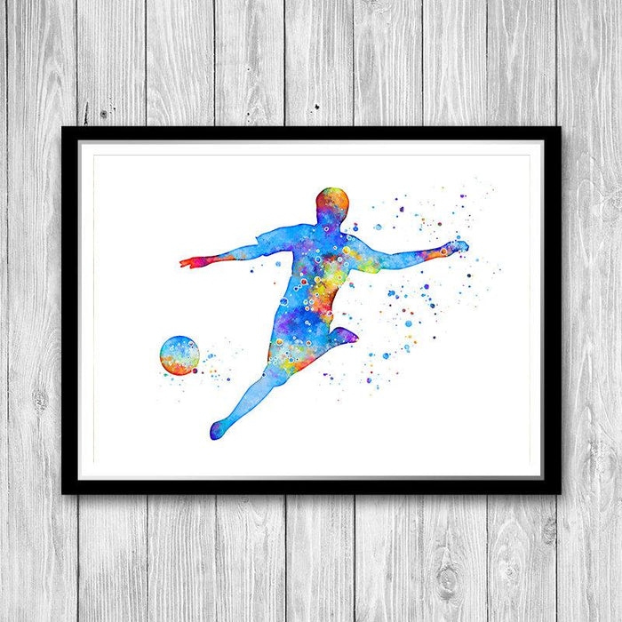 Soccer Watercolor Print Decor for Boys Room