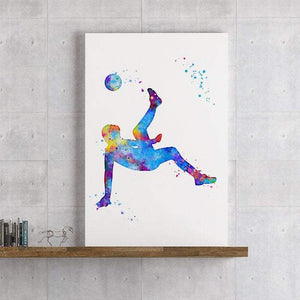 Soccer Watercolor Print Sports Wall Art - PrintsFinds