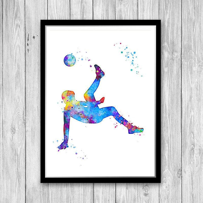 Soccer Watercolor Print Sports Wall Art