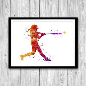 Softball Player Watercolor Art Print for teen room decor - PrintsFinds