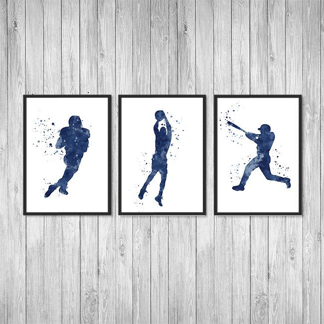 Sports Art for Boys Room Set of 3 Watercolor Prints Football Baseball and Basketball