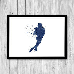 Sports Art Prints Set of 4 Football Baseball Basketball and Soccer Player - PrintsFinds