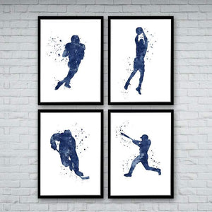 Sports Art Set of 4 Prints Football Baseball Basketball and Ice hockey - PrintsFinds