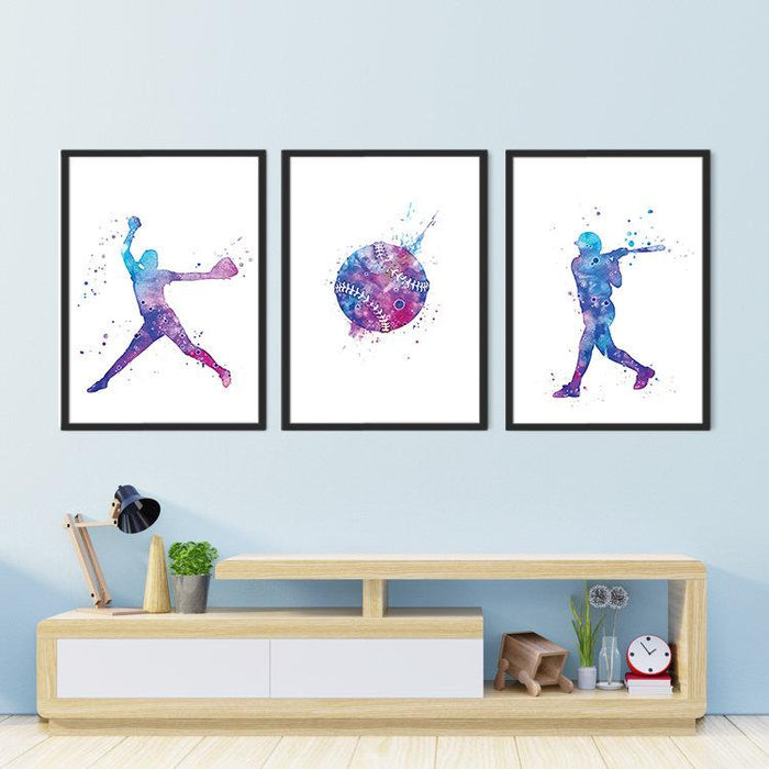 Sports Art Softball for Girls Room Decor Set of 3 Watercolor Prints