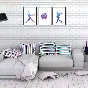 Sports Art Softball for Girls Room Decor Set of 3 Watercolor Prints - PrintsFinds