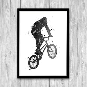Sports Decor for Boys Room Black, grey and white Set of 3 Watercolor Art Posters - PrintsFinds