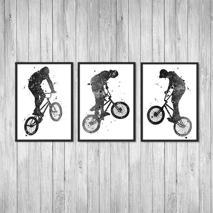Sports Decor for Boys Room Black, grey and white Set of 3 Watercolor Art Posters