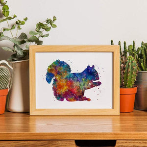 Squirrel Print Watercolor Woodland Animal for nursery decor - PrintsFinds