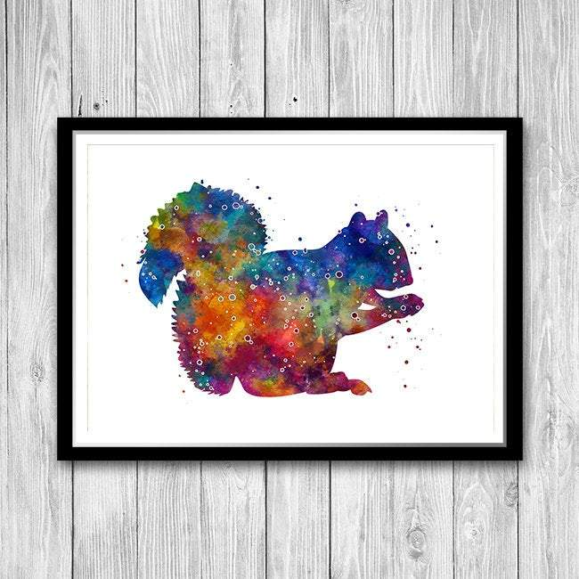 Squirrel Print Watercolor Woodland Animal for nursery decor