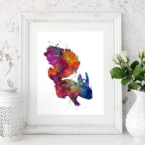 Squirrel Watercolor Print Woodland Animal Art - PrintsFinds
