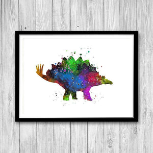 Stegosaurus Dinosaur Wall Art Decor, Watercolor Print - PrintsFinds