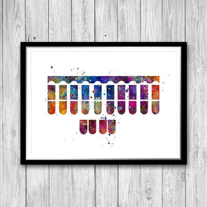 Stenographer Keyboard Watercolor Print Law Court Reporter Office Decor - PrintsFinds
